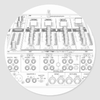 CDJ-1000 pionero puesto - disc jockey de DJ Djing Pegatina Redonda