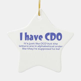 CDO Double-Sided STAR CERAMIC CHRISTMAS ORNAMENT