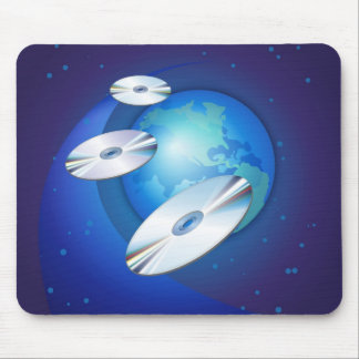 CDs Flying Aroung The Globe Mouse Pad