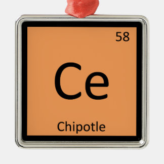 Ce - Chipotle Pepper Chemistry Periodic Table Square Metal Christmas Ornament
