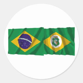 Ceará y banderas que agitan del Brasil Pegatina Redonda