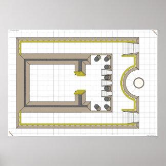 Ceasar's Tomb, game map. Print