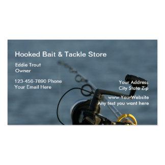 Cebo de pesca y tarjetas de visita de los trastos