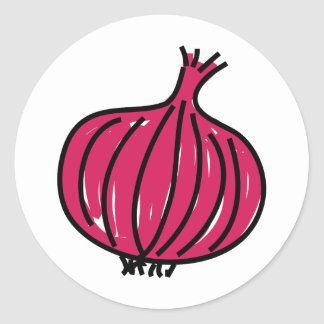 Cebolla roja pegatina redonda