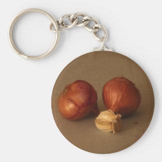 Cebolla y ajo llavero redondo tipo pin