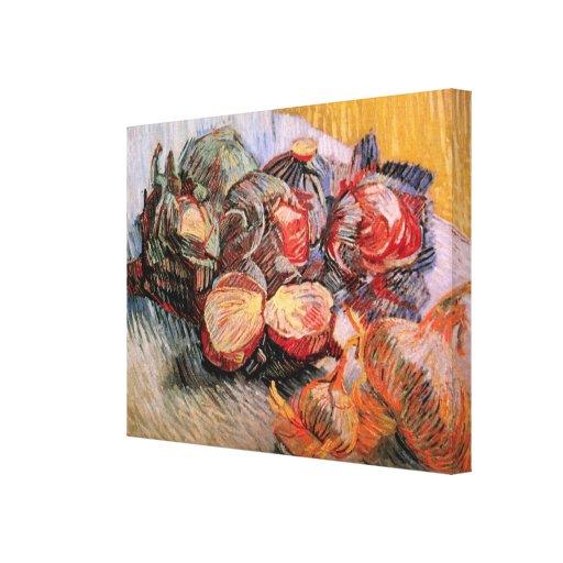 Cebollas de las coles rojas de Van Gogh, todavía d Impresion De Lienzo