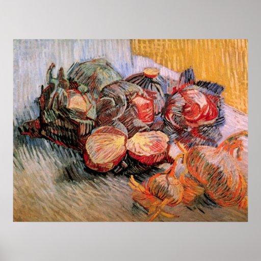 Cebollas de las coles rojas de Van Gogh, todavía d Impresiones