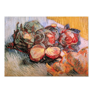 Cebollas de las coles rojas de Van Gogh, todavía Invitación 12,7 X 17,8 Cm