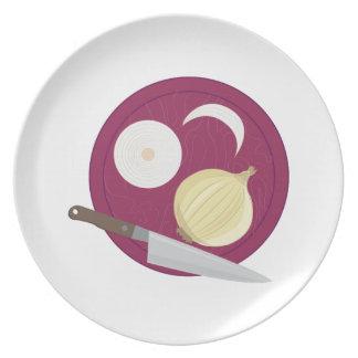 Cebollas del corte platos para fiestas