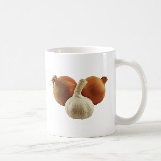 Cebollas y ajo taza