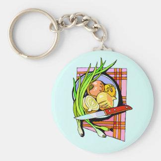 Cebollas y patatas cortadas llavero redondo tipo pin