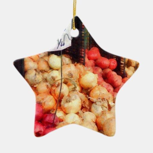 Cebollas y patatas ornaments para arbol de navidad