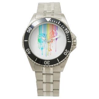 Cebra abstracta con el código de barras reloj de mano