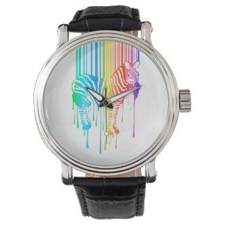 Cebra abstracta con el código de barras relojes