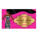 Cebra afroamericana del oro del rosa del estilista tarjeta de visita