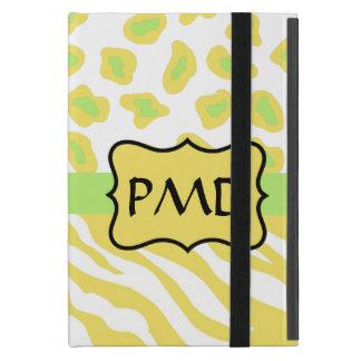 Cebra amarilla y guepardo blancos y verdes iPad mini funda