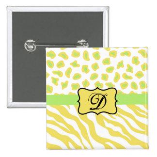 Cebra amarilla y guepardo blancos y verdes pin cuadrado