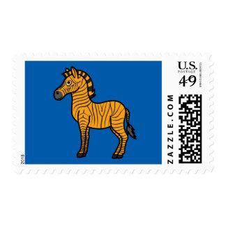 Cebra anaranjada con las rayas negras timbres postales
