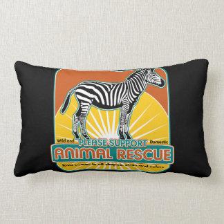 Cebra animal del rescate almohada