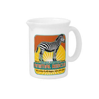 Cebra animal del rescate jarrones