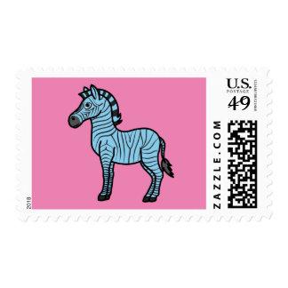 Cebra azul clara con las rayas negras sello postal
