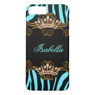Cebra azul de la corona de la tiara del bronce del funda iPhone 7 plus