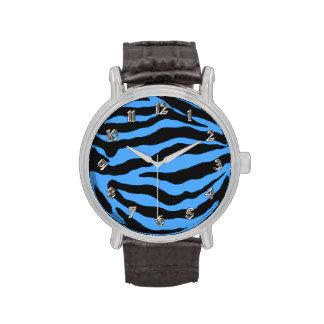 Cebra azul numerada reloj animal