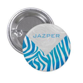Cebra azul y blanco con el monograma pin redondo de 1 pulgada