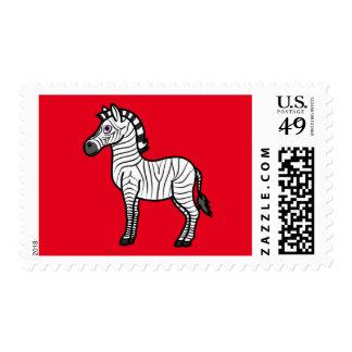 Cebra blanca con las rayas negras timbre postal