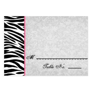 Cebra blanca negra con las tarjetas del lugar del tarjeta de visita