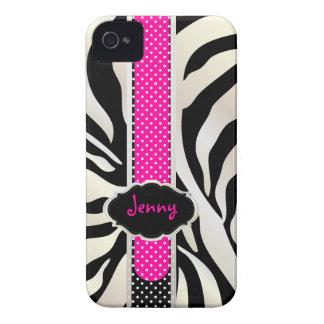 Cebra blanca/rosa de PixDezines+Color de Black/DIY Case-Mate iPhone 4 Protectores
