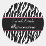 Cebra blanca y rosada negra Quinceanera redondo Pegatinas Redondas