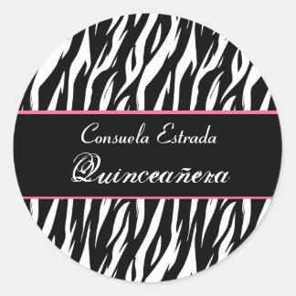 Cebra blanca y rosada negra Quinceanera redondo Pegatina Redonda