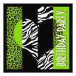 Cebra blanco y negro del leopardo verde del estamp invitaciones personalizada