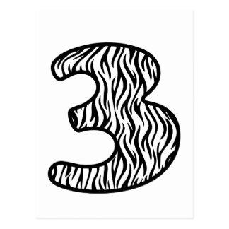 Cebra blanco y negro número 3 de la diversión TRES Postales