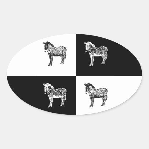 Cebra blanco y negro pegatina ovalada