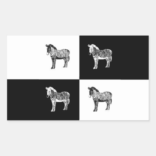 Cebra blanco y negro pegatina rectangular