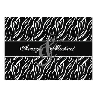 """Cebra blanco y negro personalizada casando V02 Invitación 5"""" X 7"""""""