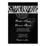Cebra blanco y negro que casa el papel metálico invitación 12,7 x 17,8 cm