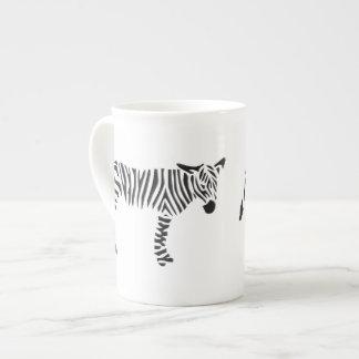 Cebra blanco y negro taza de porcelana