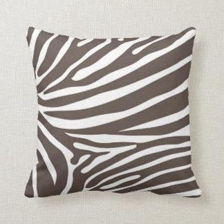 Cebra Brown de la almohada del estampado de animal