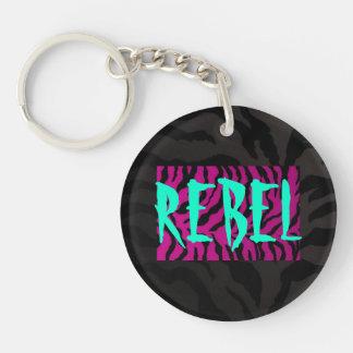 Cebra Cadena-rosada/negra dominante rebelde Llavero Redondo Acrílico A Una Cara