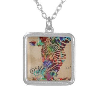 Cebra coloreada agua hermosa del arco iris colgante cuadrado