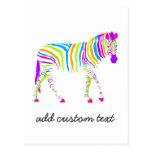 Cebra colorida tarjeta postal