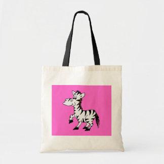 Cebra con el fondo rosado bolsa