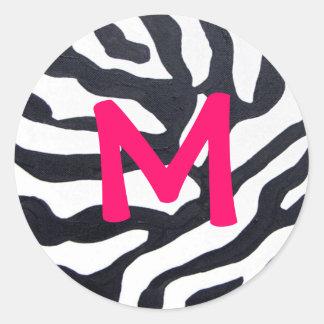 Cebra con el monograma etiquetas