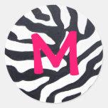 Cebra con el monograma etiquetas redondas