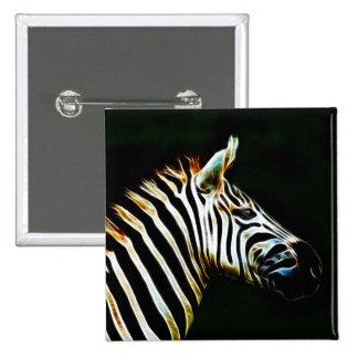 Cebra con las rayas blancos y negros en África Pin Cuadrada 5 Cm