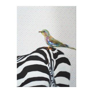 Cebra con un pequeño pájaro impresión en lona estirada