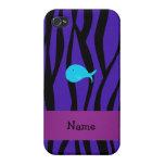 Cebra conocida personalizada de la púrpura de la b iPhone 4 cobertura